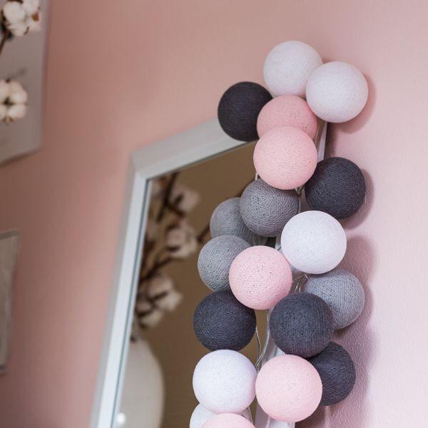 Bombažne lučke na vrvici ♥PINK & GREY♥