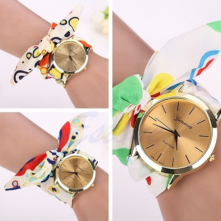 Modna ženska ura s paščkom iz blaga