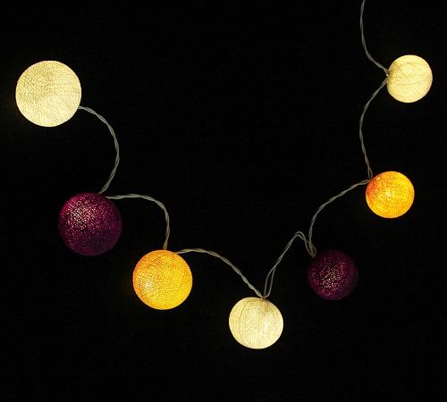 Bombažne lučke na vrvici ♥PURPLE & YELLOW & WHITE♥