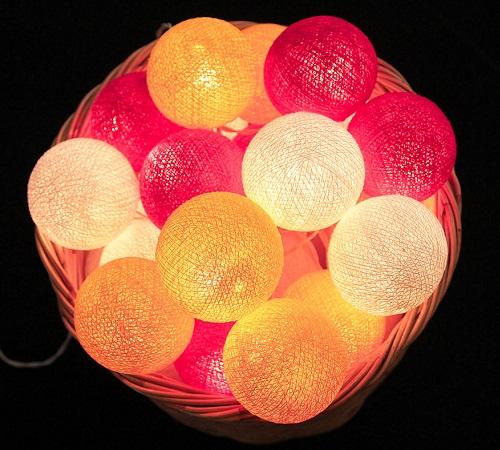 Bombažne lučke na vrvici ♥BRIGHT PINK & YELLOW & WHITE♥