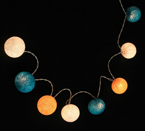 Bombažne lučke na vrvici ♥HEAVY AQUA & WHITE & YELLOW♥