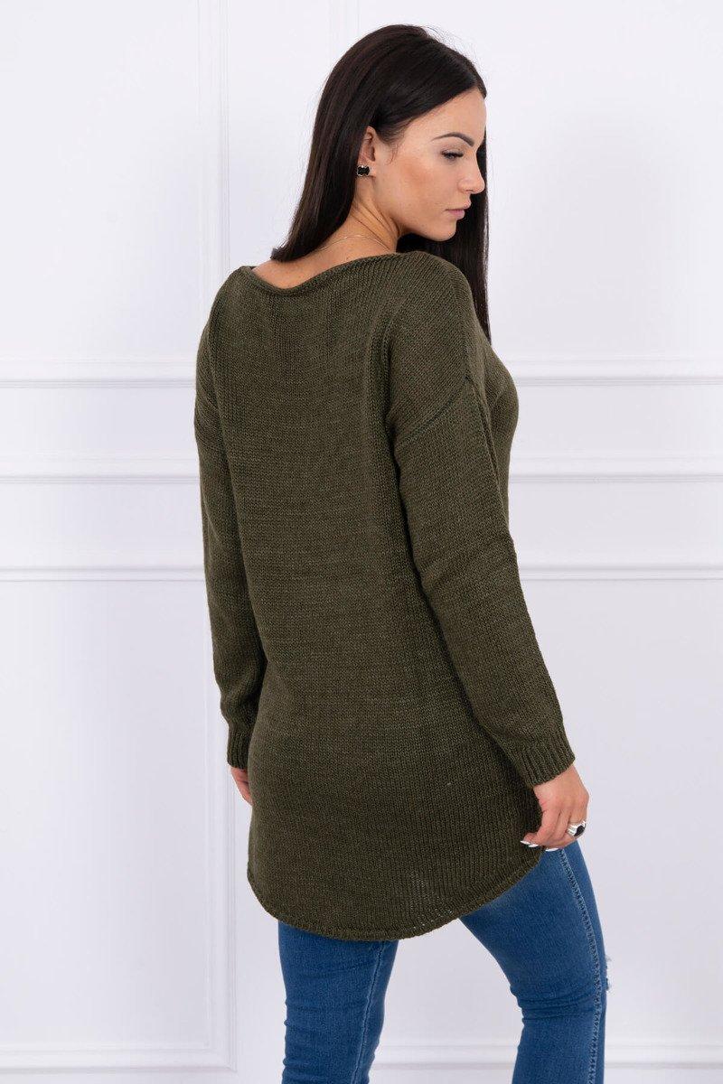 Ženski pleten pulover s krajšim sprednjim delom