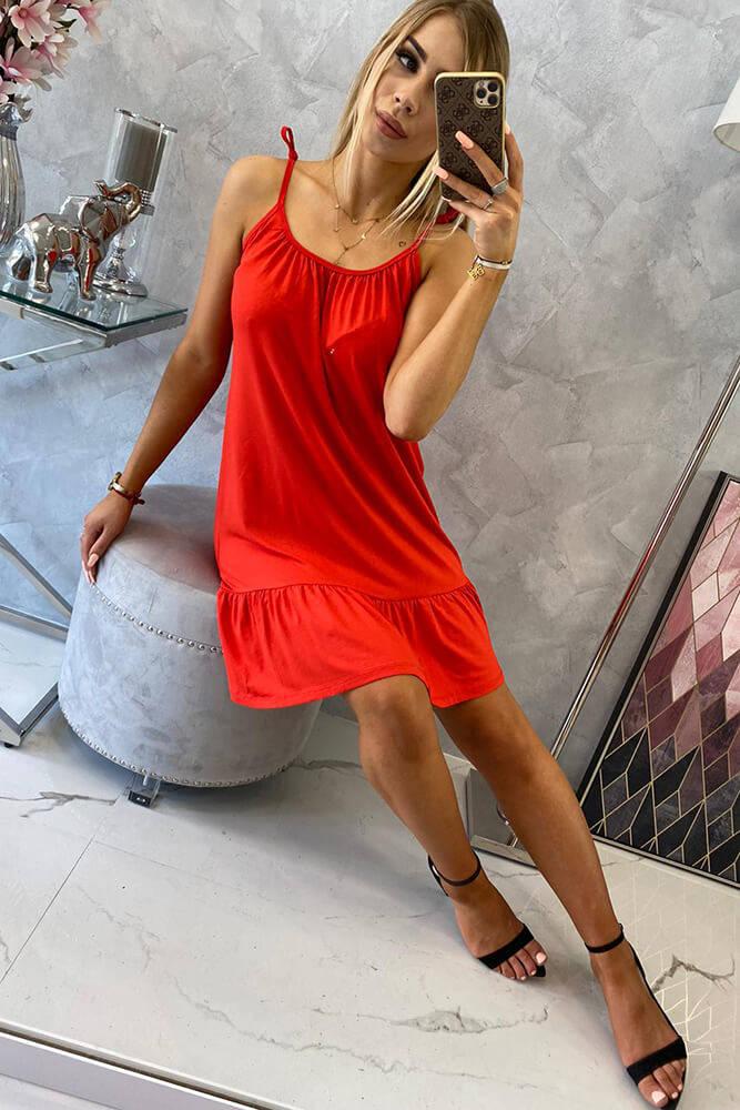 Obleka s tankimi naramnicami