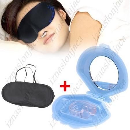 Magnetni obroček proti smrčanju + maska za spanje