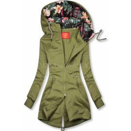 Daljša jopica s cvetličnim potiskom na kapuci AMG719, kaki