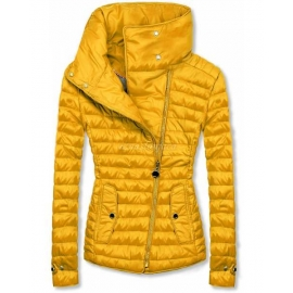 Ženska prešita jakna z visokim ovratnikom DL016, rumena