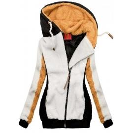 Ženska zimska jopica s kapuco D0727, bela/črna