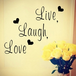 Stenska nalepka 'Live, Laugh, Love'