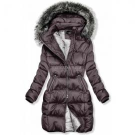 Prešita zimska bunda z dvosmerno zadrgo 46001, vijoličasta