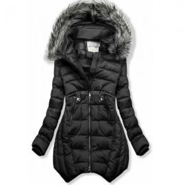 Prešita zimska bunda z odstranljivo kapuco 46046, črna