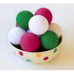 Bombažne lučke na vrvici ♥BRIGHT PINK & GREEN & WHITE♥