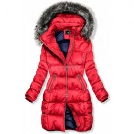 Prešita zimska bunda z dvosmerno zadrgo 46002, rdeča