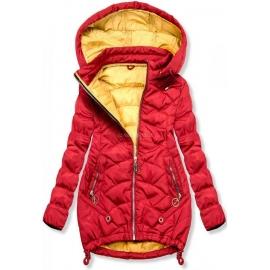 Ženska dvobarvna prešita jakna s kapuco 45841, rdeča
