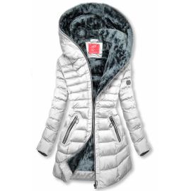 Zimska prešita bunda s kapuco M-133, bela