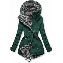 Obojestranska prehodna jakna s pepita vzorcem, zelena