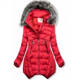 Prešita zimska bunda z odstranljivo kapuco 46047, rdeča