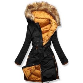 Ženska obojestranska zimska bunda A5, črna/gorčično rumena