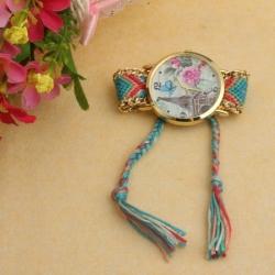 Elegantna ženska ura s paščkom iz blaga, Eifflov stolp
