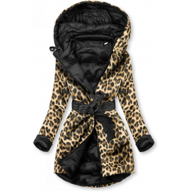 Obojestranska prehodna jakna z leopardjim vzorcem W352, črna