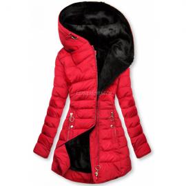 Prešita bunda s črno plišasto podlogo, rdeča