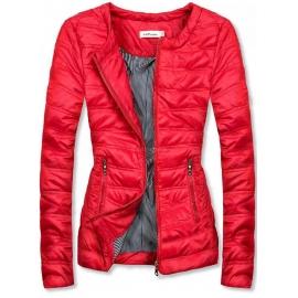 Kratka prešita jakna s črtasto podlogo S-111, rdeča