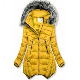 Prešita zimska bunda z odstranljivo kapuco 46048, gorčično rumena
