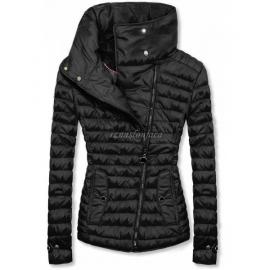 Ženska prešita jakna z visokim ovratnikom DL016, črna