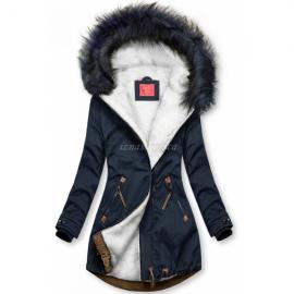 Zimska bunda z rjavimi dodatki, temno modra/bela