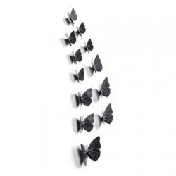3D metuljčki za dekoracijo doma, črni