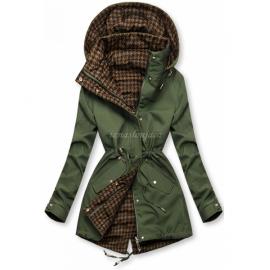 Obojestranska prehodna jakna s pepita vzorcem, zelena/rjava