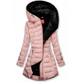 Prešita bunda s črno plišasto podlogo, svetlo roza