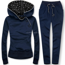 Trenirka z gumbi in dekorativnim potiskom na kapuci, temno modra
