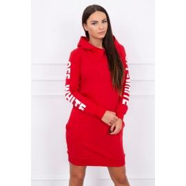 Obleka z belim napisom na rokavih 62072, rdeča