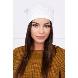 Ženska kapa s cofom K102, bela