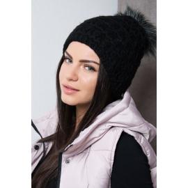 Ženska kapa s cofom K87, črna