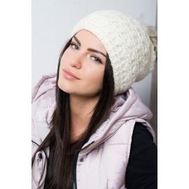 Ženska kapa s cofom K87, ekru