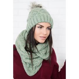 Ženska kapa in šal K100, zelena