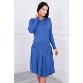 Obleka s širokim krilom in žepom 62246, jeans modra
