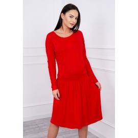 Obleka s širokim krilom in žepom 62246, rdeča