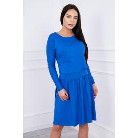 Obleka s širokim krilom in žepom 62246, modra