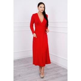 Daljša obleka z V izrezom 62247, rdeča