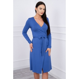 Obleka z vezavo v pasu 62248, jeans modra