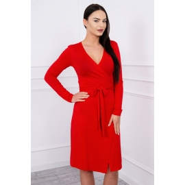 Obleka z vezavo v pasu 62248, rdeča