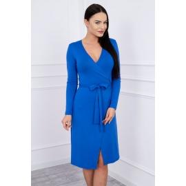 Obleka z vezavo v pasu 62248, modra