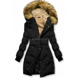 Prešita zimska bunda s kombinirano notranjostjo, črna