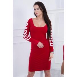 Obleka z napisom na rokavih Ragged 8828, rdeča