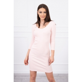 Modna obleka z dekoltejem 8863, puder roza