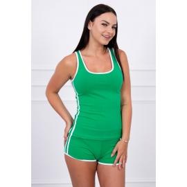 Ženski komplet s kratkimi hlačami, zelen