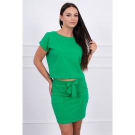 Ženski komplet s krilom z dekorativno mašnico, zelen