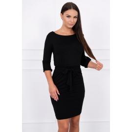 Obleka z zavihanimi rokavi 8925, črna